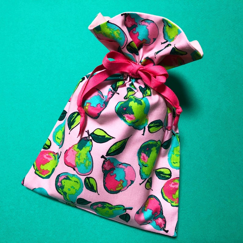 Pink Pear Drawstring Pouch  Fruit Drawstring Bag  Handmade Fabric Pouch