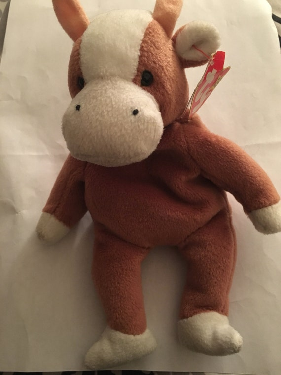 Rare Bessie the cow TY Beanie Baby with PVC pellets  e2aaa7fb0e6