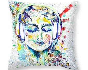 Music Headphone Throw Pillow