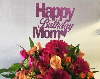 Custom Happy birthday cake topper - birthday cake topper - custom cake topper - happy birthday mom - double sided glitter