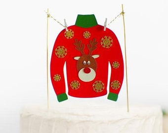 Ugly Christmas Sweater Cake Topper