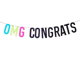 OMG Congrats Banner in neon and black | congratulations banner | graduation banner