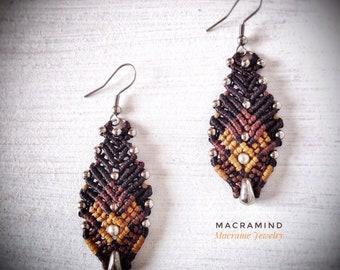 Gipsy Red Agate Macrame Earrings-MacraMind Macrame-Princess Earrings-Wedding Jewelry-Special Jewelry