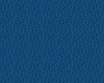 Swirling Leaf Sprigs Wilmington Prints 39095-444 Loosely Scattered Essentials Basics All Over By the Yard Navy Blue
