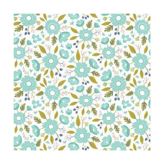 Wildflowers In Mint Meadow By Camelot Design Studio From Etsy