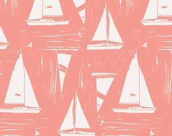 Sailcloth Sunset Fabric From Art Gallery's, Coastline Fabric Collection by Sharon Holland, Cotton Fabrics, Fabric by Yard, Boat Fabrics