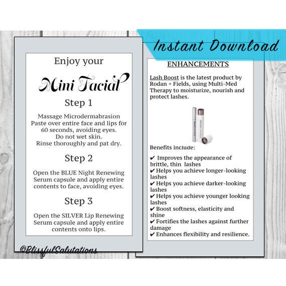 470f0ed1895 rodan and fields mini facial cards - ready to print - randf business - DIY  - lash boost cards - instant download