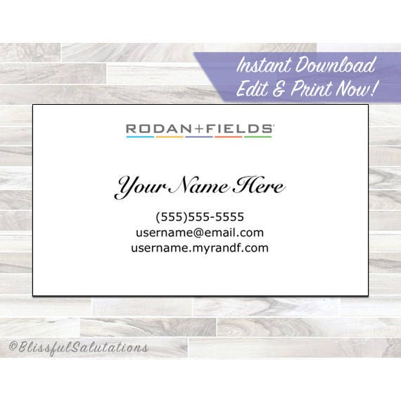 Rodan and fields business cards instant download edit and print now colourmoves