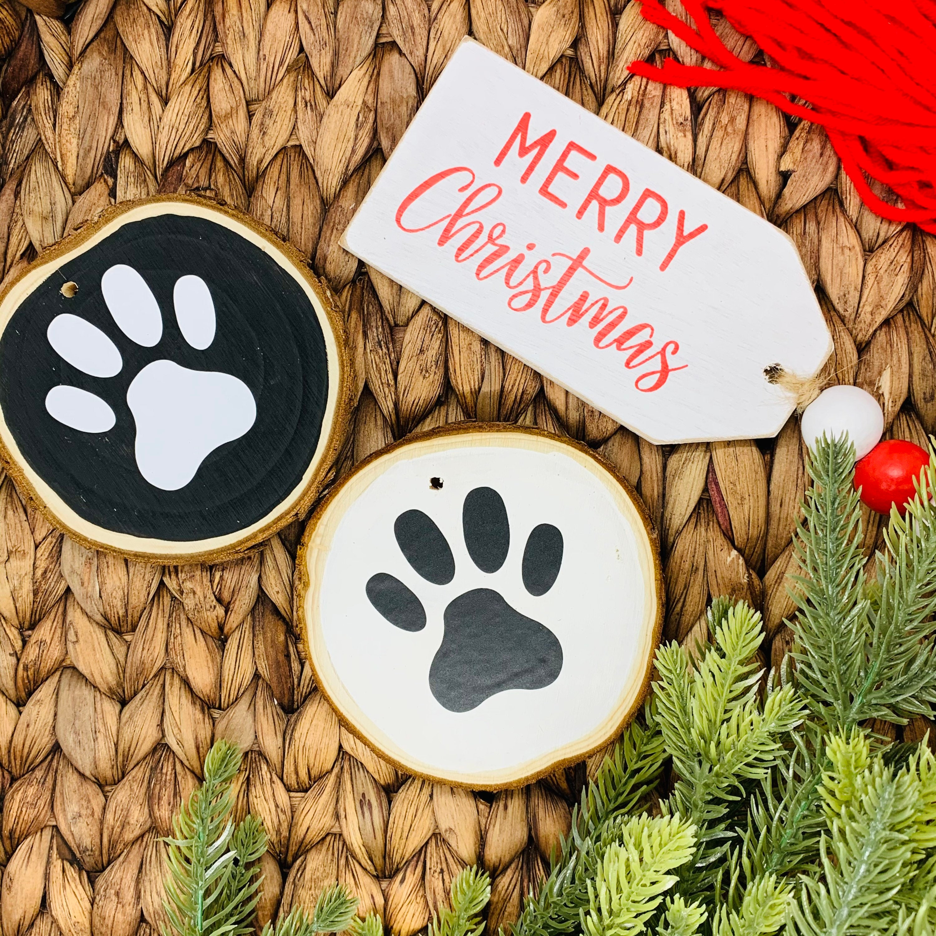 Christmas Ornament Set Of 2 Personalized Wood Slice Ornaments Farmhouse Christmas Black And White Rustic Christmas Decor