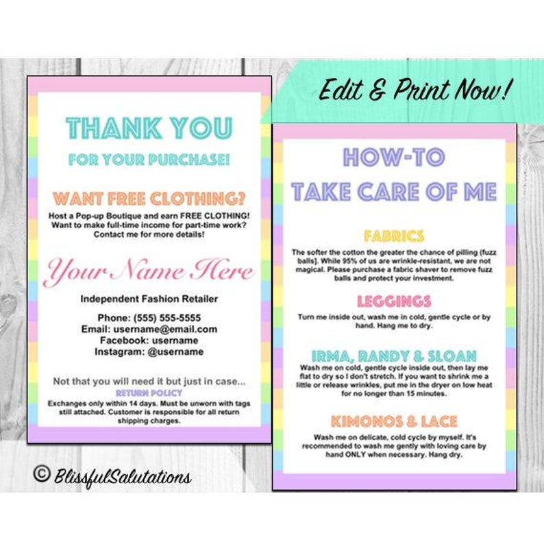 picture about Free Printable Thank You for Your Purchase named Thank By yourself Playing cards and Treatment Card Guidance - Lula - LLR - Printable - Editable - Electronic History for Design Suppliers