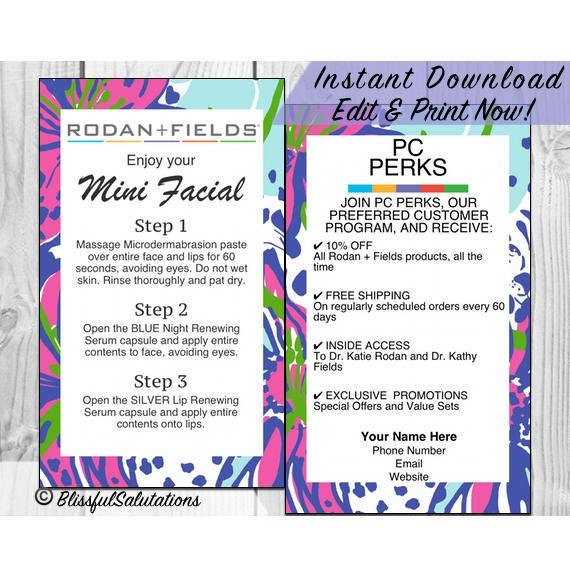 46868549bbe Randf Business Cards - Rodan and Fields Mini Facial Cards - Lash Boost Cards  - Editable Contact Information - Instant Download - Edit & Prin