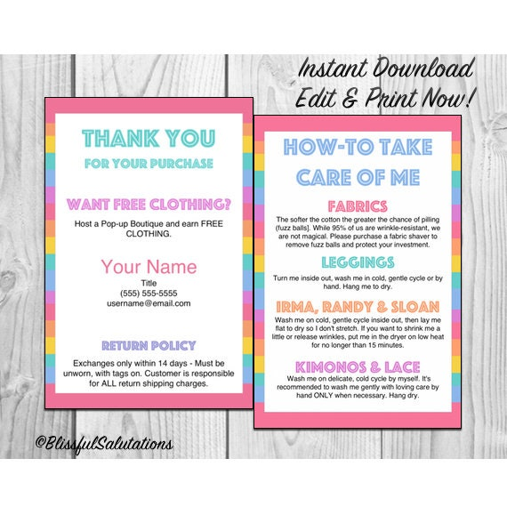 LLR - Thank you and Care Instructions - Instant Download