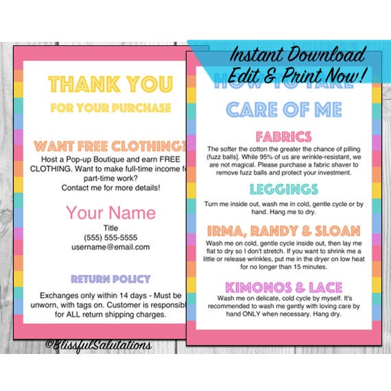 Lula - LLR - Thank You Care Card Instructions - Printable