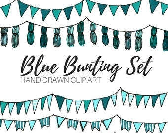 Bunting clip art - Birthday Clip Art - Party Clip Art - Hand drawn - Blue Bunting Clip Art - Commercial Use