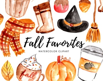 fall autumn clipart fall favorite clip art - watercolor clipart - commercial use
