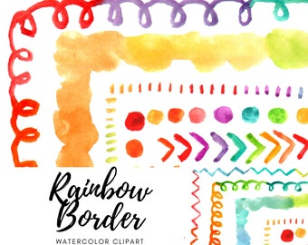 Watercolor rainbow border clip art - border clipart - frame graphics - commercial use