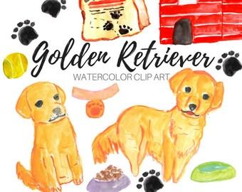 dog clip art - Golden Retriever clip art - watercolor clip art - animal clip art- Commercial Use