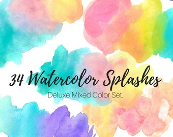 Watercolor splash clip art - Watercolor blobs - Rainbow Clip Art - Brush Strokes - Commercial Use