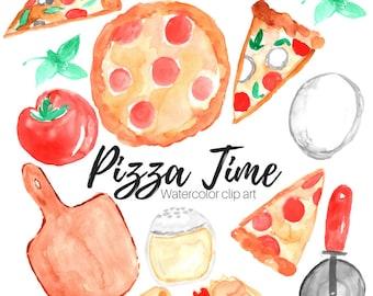 Pizza Clip Art - Food clip at - Watercolor clip art - Pizza Party Clip Art - Commercial Use