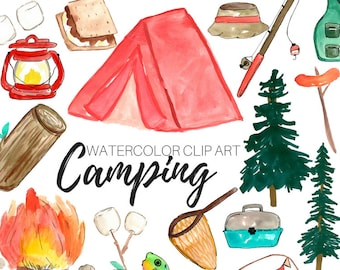 Watercolor clip art - camping clip art - outdoors clip art - nature clip art - commercial use
