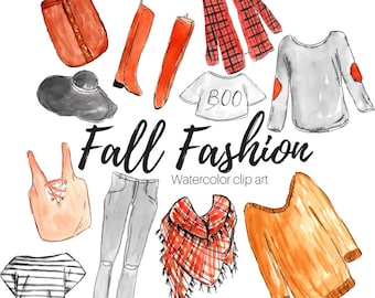 Watercolor clip art - fashion clip art - fall clip art - clothing clip art- commercial use