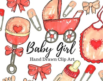 Baby Clip Art - Baby Girl Clip Art - Hand Drawn - Baby Shower Clip Art - Commercial Use