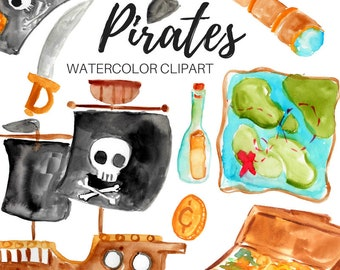 Pirates clipart - Watercolor clipart - Adventure clipart - Sea clipart - Pirate party - Commercial Use