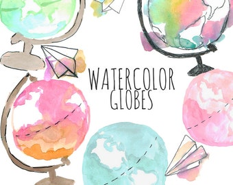 Watercolor clipart - Globe Clipart - Object clipart - Travel Clipart - Traveling Clipart - Wanderlust clipart - World Clipart