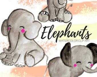 Elephant Clip Art -cute clip art - nursery clip art -Animal Clip Art - Watercolor clip art - Hand drawn clip art - commercial use