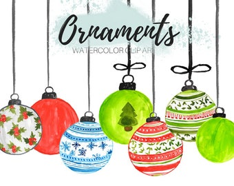 Christmas clip art - Watercolor clip art - Ornament clip art - Holiday clip art -  commercial use