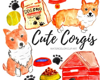 dog clip art - corgi clip art - watercolor clip art - animal clip art- Commercial Use
