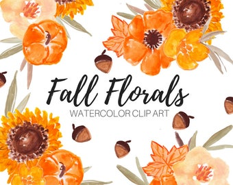 flower clip art - watercolor clip art - fall  - nature - sunflowers  - autumn - Commercial Use