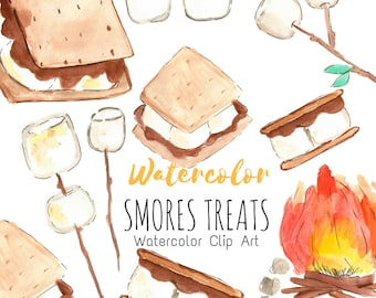 Watercolor clip art - Smores Clip Art - Camping - food - marshmallow - campfire commercial use