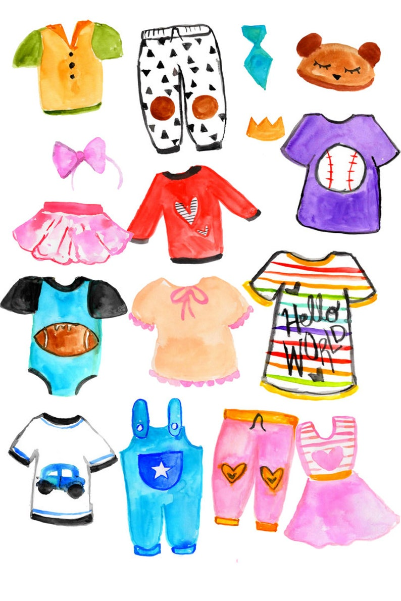 Fashion clipart Commercial use. Kids clipart Watercolor clipart Kids Clothing clipart Childern Clipart