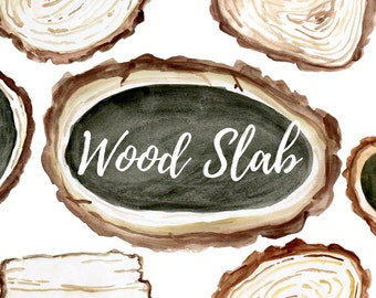 Wood Clip Art - Wood Signs - Wood Slab - Tree clip art - Watercolor clip art - Forest Art - Commercial Use