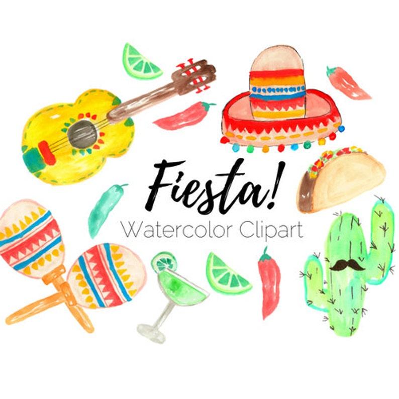 Fiesta Clip Art Taco Clip Art Cinco De Mayo Clip Art Watercolor Clip Art Commercial Use