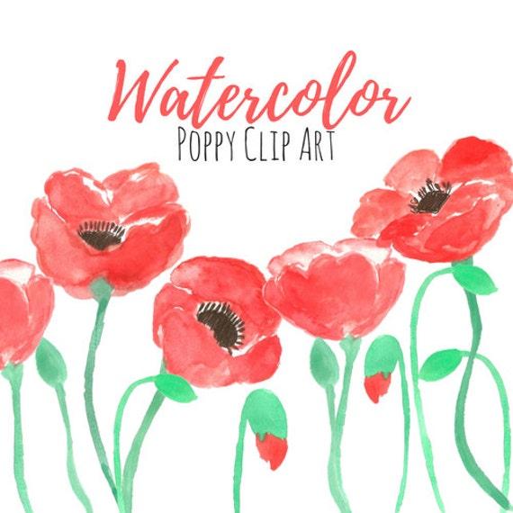 Poppy flower clip art floral clip art watercolor art etsy image 0 mightylinksfo