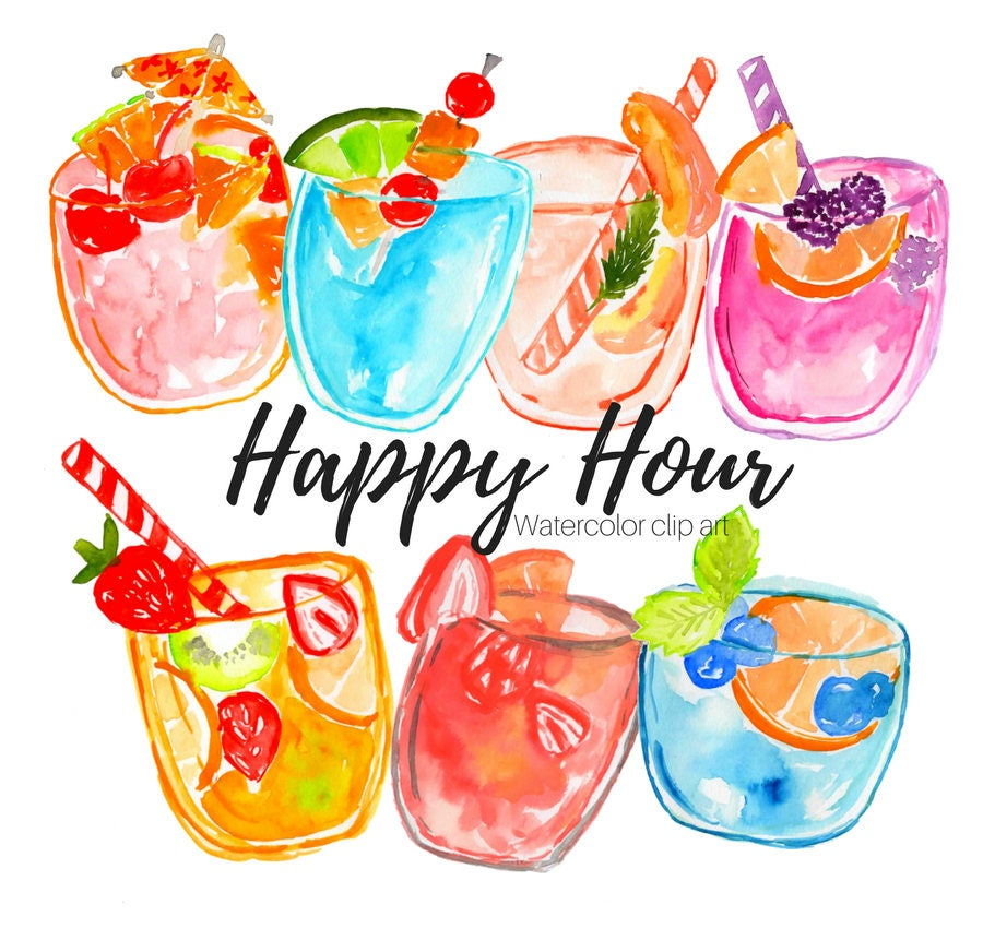 hour happy clipart clip drinks food zoom