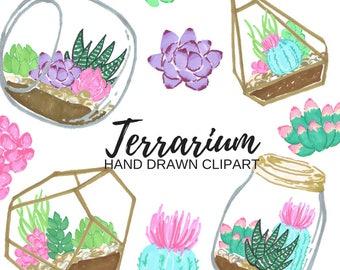 Terrarium clip art - succulent graphics - floral- planting - gardening - Commercial Use