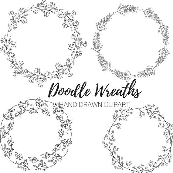 Floral Wreath Drawing Black And White