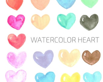 Watercolor Heart Clip Art - Valentines Day Heart Clip  Art - Commercial  Use