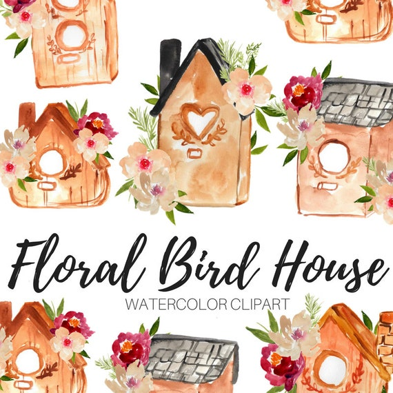 Watercolor Spring Watercolor Clipart Love Clipart Wreath Clipart Spring Clipart Heart Bird Key Bow Feather Flower Leaf Nest Bird House