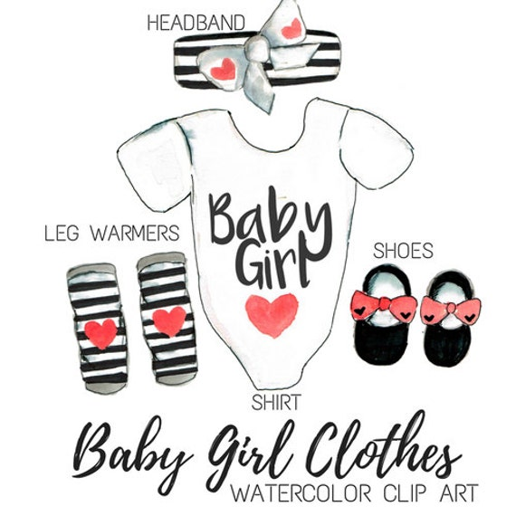 Baby Dusche Clipart Aquarell Clip Art Baby Girl Clip Art Etsy