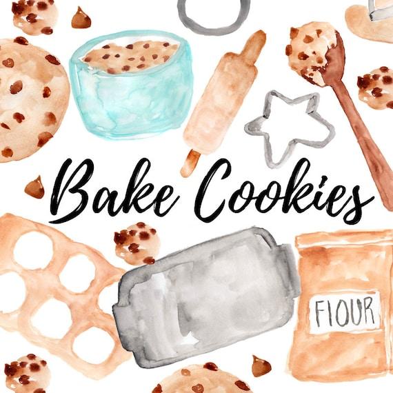 Cookies Clipart Aquarell Clipart Backen Essen Kuchen Backen Etsy