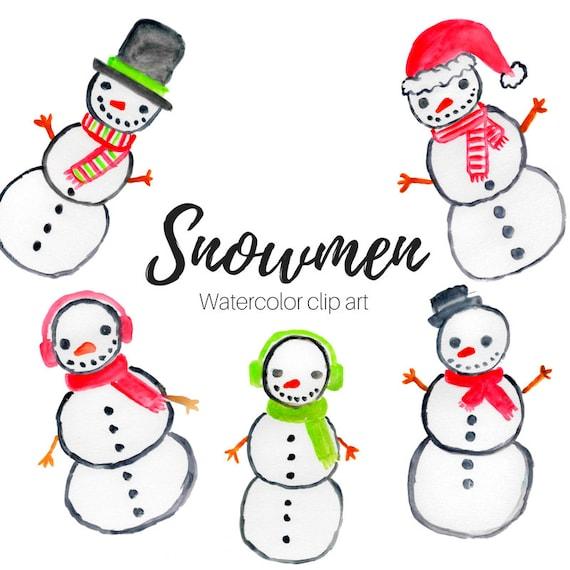 Schneemann Weihnachtscliparts Aquarell Clipart Schnee Etsy