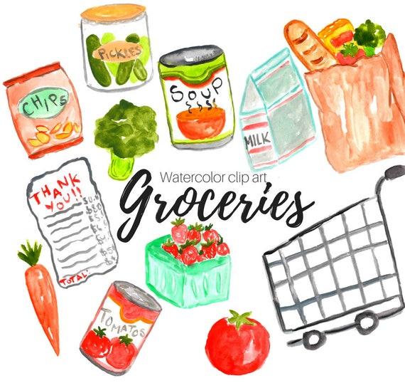 groceries clipart watercolor clip art shopping clipart etsy rh etsy com groceries clipart free grocery clip art photos