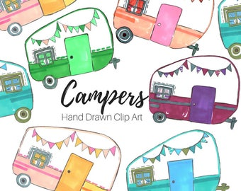 Camper Clip Art - Vintage  camper - Camping - trailer - Summer Clip Art - Hand Drawn - Commercial Use