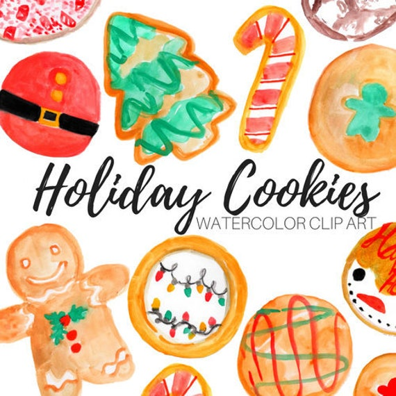 Watercolor Christmas Cookie Clipart Food Graphics Gingerbread Suger Cookie Holiday Treats Commercial Use