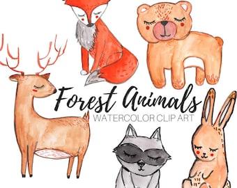 Animal clip art - Forest animal clip art - Watercolor clip art - Nature clip art - commercial use
