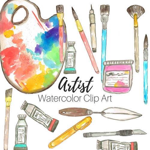 watercolor clip art art supplies clip art art school clip etsy rh etsy com Art Supplies Clip Art Black and White Colored Pencils Clip Art